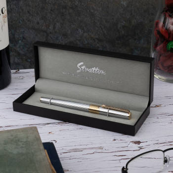 Silver and Gold Roller Ball Pen in a box