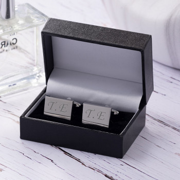 Silver Plated Rectangular Cufflinks with Luxury Leatherette Case