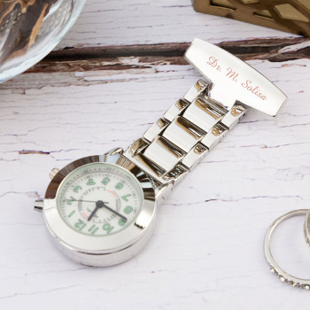 Personalised Chrome Nurses Watch with Back Light