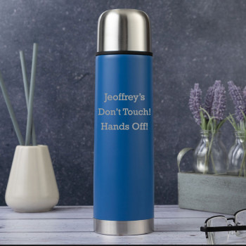 Personalised Matt Blue 500ml Thermos Flask with Silver Lid