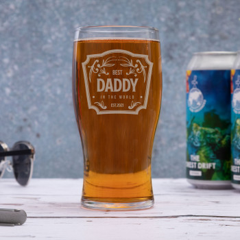 Tulip Toughened 570ml Pint Glass with Best Daddy Logo