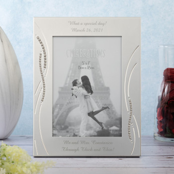 """Silver Plated (Wedding) 5""""x7"""" Photo Frame with Crystals Celebrations"""