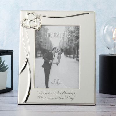 """Personalised Silver Plated 5""""x7"""" Photo Frame with Hearts and Crystals Design"""