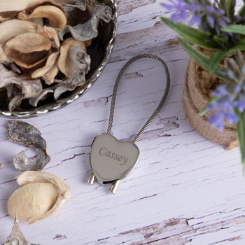 Personalised Heart Keyring with Cable