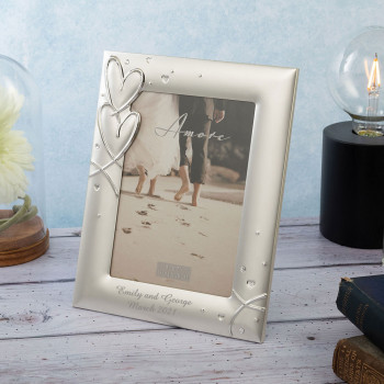 Personalised Silver Plated Hearts Photo Frame with Crystals 5x7