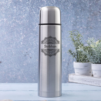 Brushed Steel Insulated Vacuum Flask 500ml with Mandala and Name Design