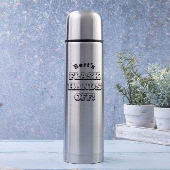 Hands Off Brushed Steel Flask