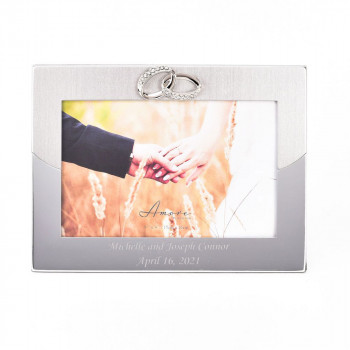 Personalised Two Tone Silver 6x4 Frame with Rings Design