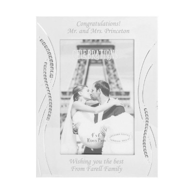 Personalised Silver Plated 4″x6″ Photo Frame with Side Crystals Design