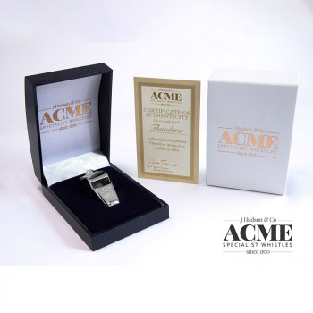 Boxed Acme Thunderer 60.5 Silver plated whistle with certificate of authentication