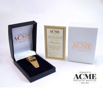 Boxed Acme Thunderer 60.5 Gold plated whistle with certificate of authentication