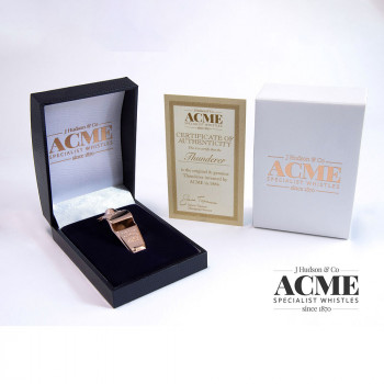 Boxed Acme Thunderer 60.5 Rose Gold plated whistle with certificate of authentication