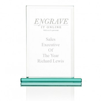 Rectangular Trophy engraved with logo and text